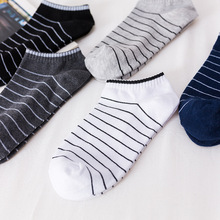 5 pairs lot New Summer Men Socks Short Ankle Cotton College Style Lines Black Casual Sock Size 39-43