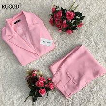 RUGOD Newest Winter Spring Elegant Office Lady Business  Suits Female Two Piece Sets Femme Long Sleeve Jacket and Trouser suits