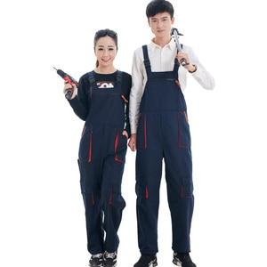 Image 3 - גברים נשים סינר סרבל עבודת בגדי מגן סרבל טכנאי רצועת סרבלי עבודה מדים שרוולים סרבל