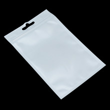 Engros 10cm * 6cm Hvit / Clear Self Seal Glidelås Plastic Retail Packaging Bag, Ziplock Zip Lock Bag Retail Pakke W / Hang Hole