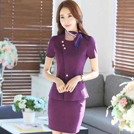 2016 summer new women's wear short-sleeved round neck Slim skirt suit