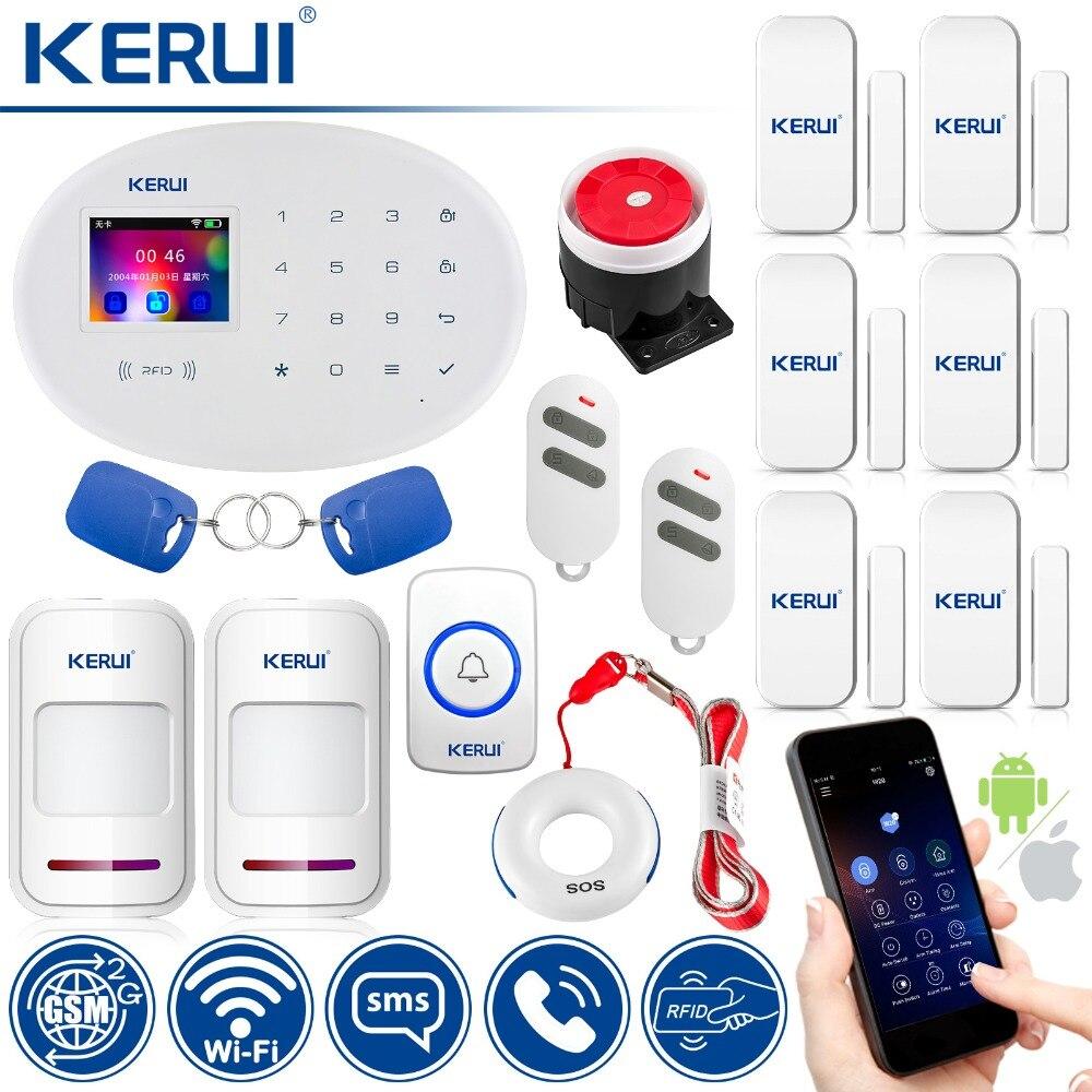 KERUI alarme maison sans fil Protection de sécurité WIFI + GSM système d'alarme de sécurité avec sonnette de porte bouton d'urgence détecteur de capteur