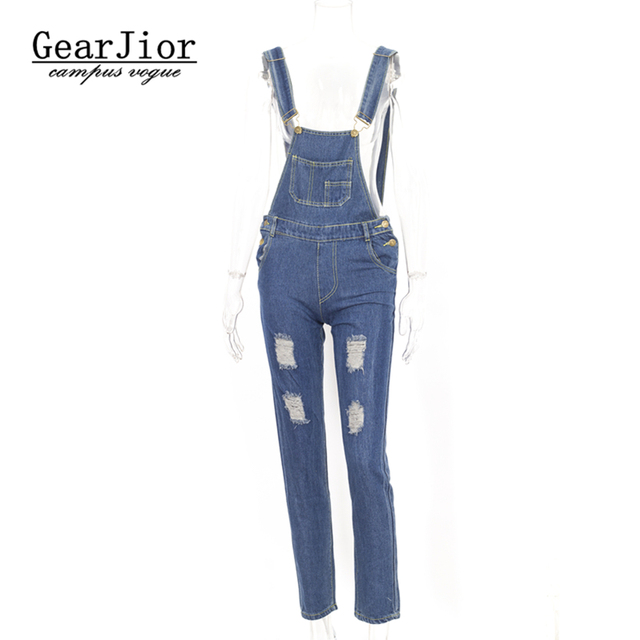 a143b6a0ce2 Womens Jumpsuit Denim Overalls 2017 Autumn Casual Ripped Hole Loose Pants  Ripped Pockets Jeans Coverall Casual Retro Femme
