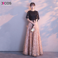 Robe De Soiree 2018 New Evening Dress Black With Khaki Color Lace Floor length Long Prom Party Gowns