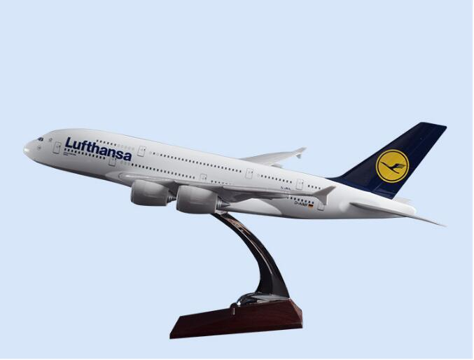 45cm Resin Etihad/German Lufthansa/Malaysia Airbus A380 Aircraft Model Airplane Stand Model Collection Adult Children Gift Toy electric air bus model toys moving flashing led light sounds kids toy assembling aircraft children gift a380 airbus music toy