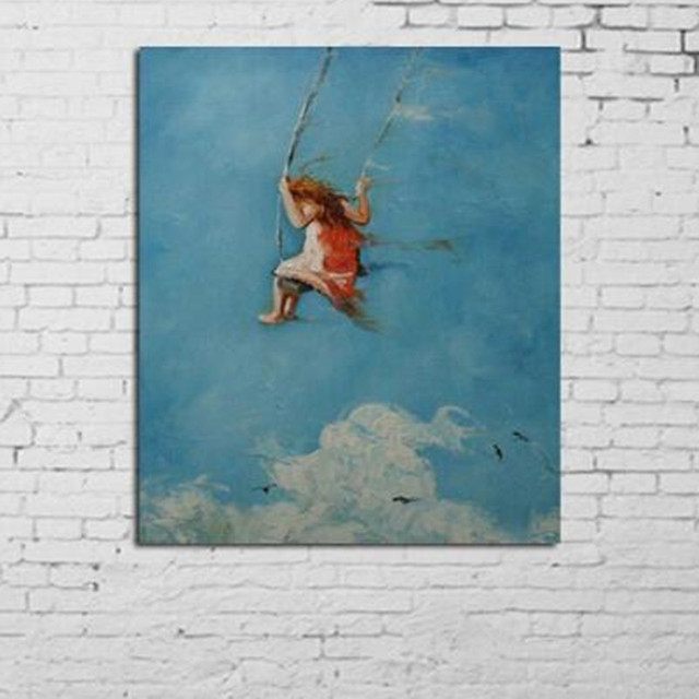 Hand painted Abstract Little Girl Oil Painting On Canvas Modern Home ...