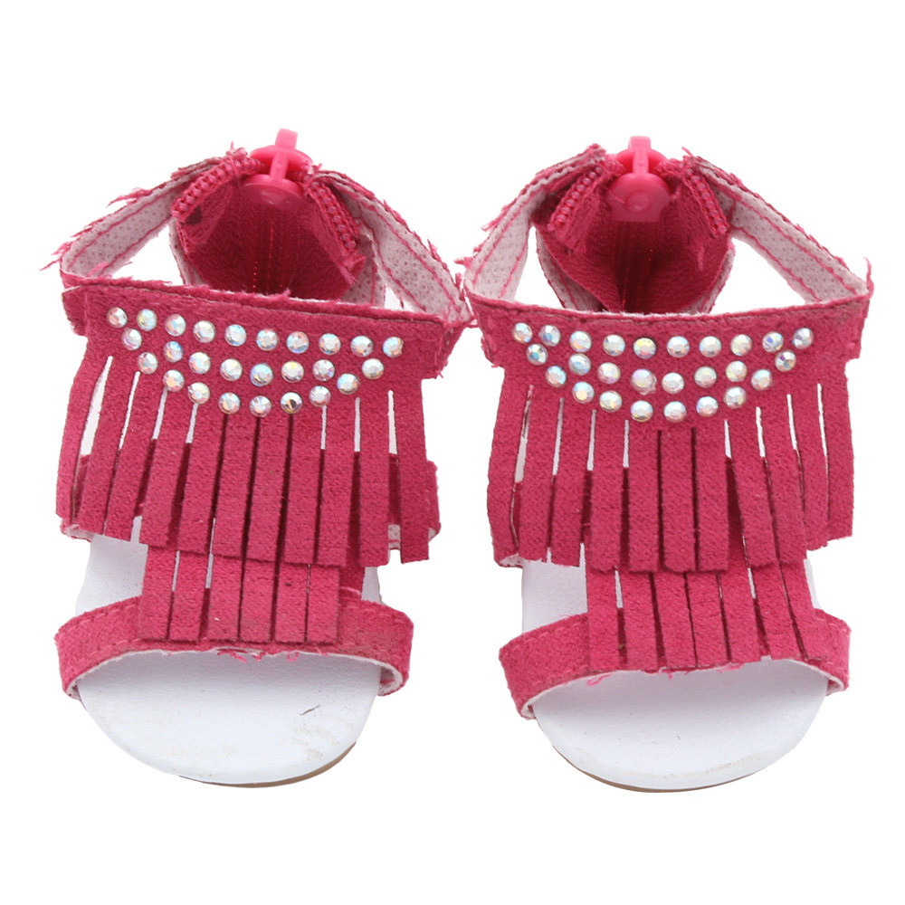 Hot sale1 Pairs Doll Shoes Tassel Sandals For 18 Inch Our Generation American Girl Doll 18apr02