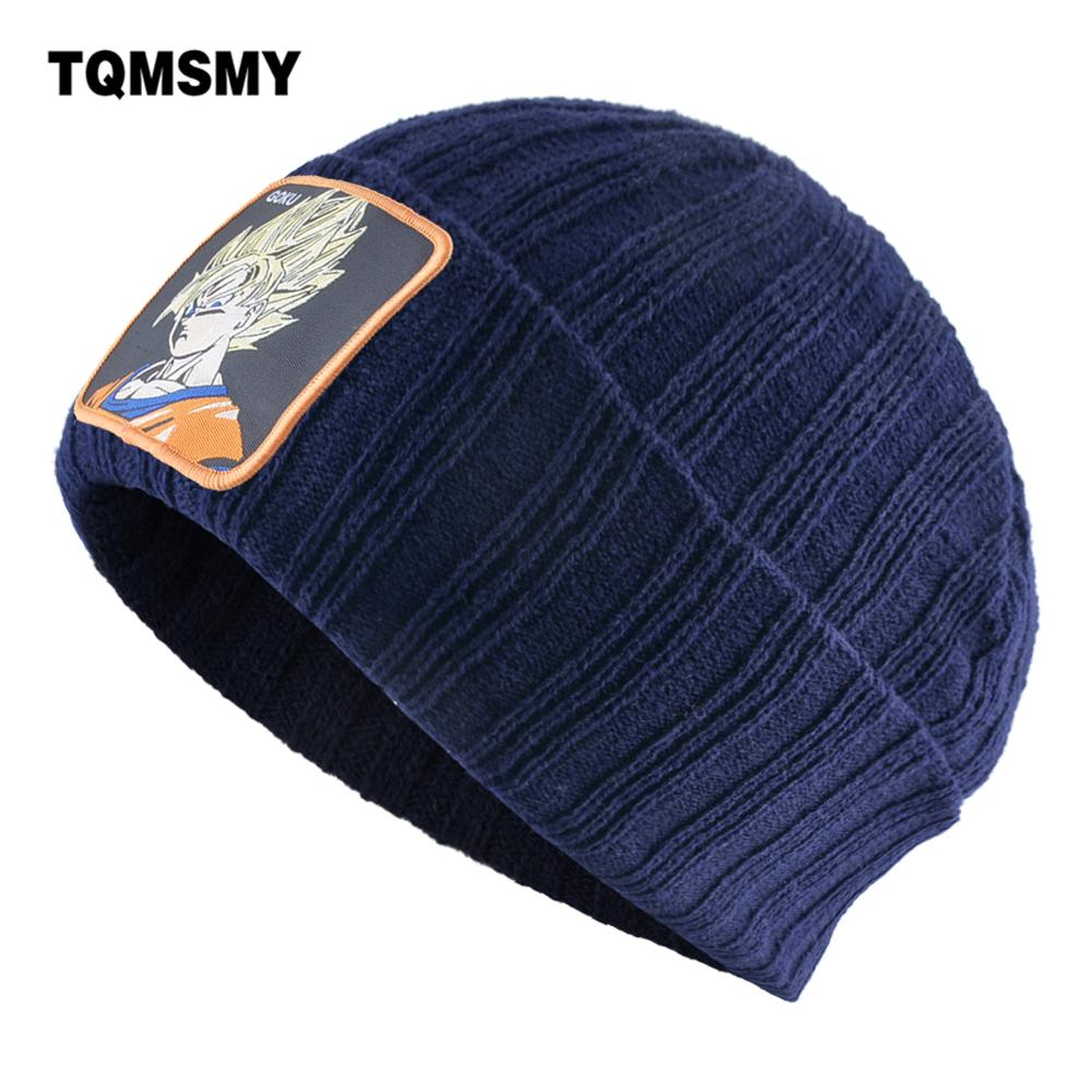 TQMSMY Solid Color Knitted Beanie With Goku Patch Double Layer Knitting Skullies Beanies Autumn Winter Soft Bonnet Fashion Gorra(China)
