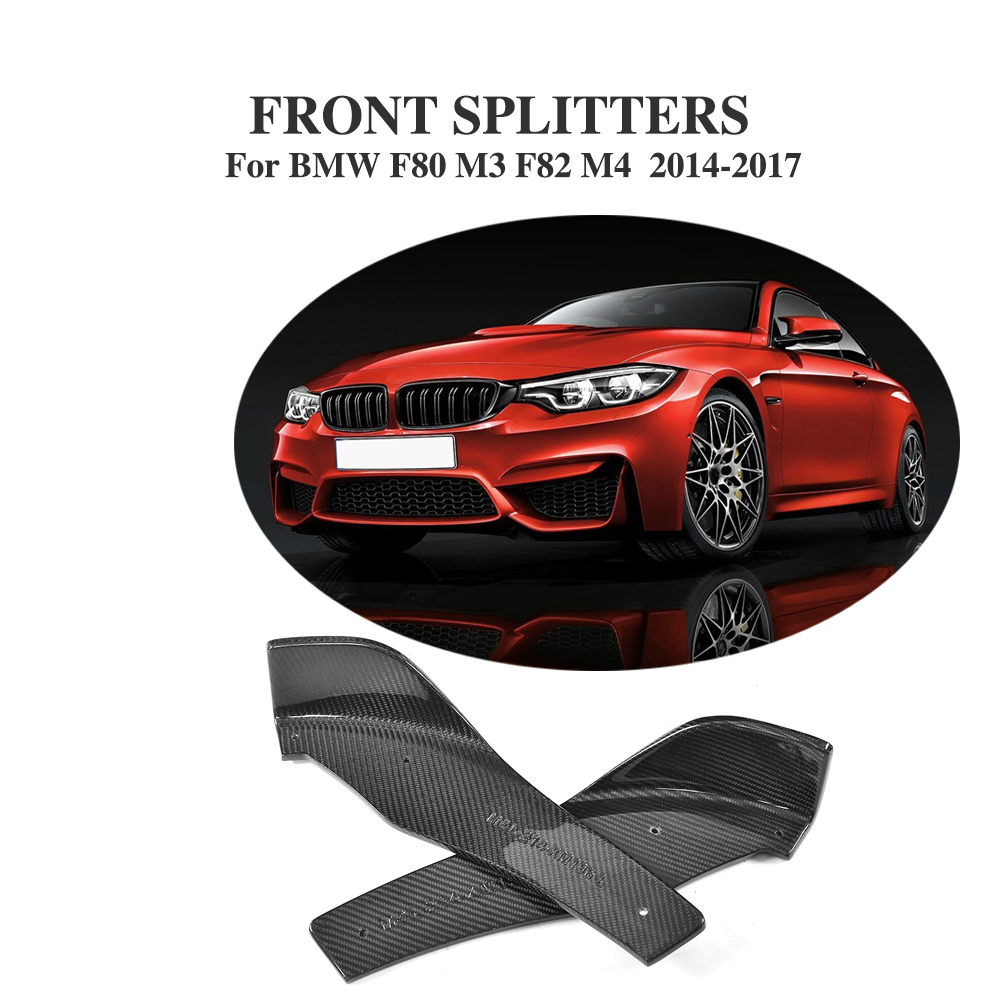Carbon Fiber Front Bumper Lip Splitters Apron Flaps for BMW F80 M3 F82 M4 Coupe 2-Door 2014-2017 2PCs/Set Car Styling