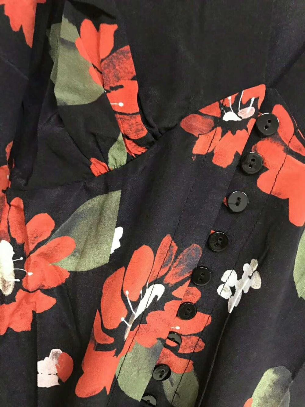 En Femmes Nouvelle V Robe Fleur Mode Automne Profonde Numérique Imprimer Soie 100 Cou De Rue 2018 5gq6BwPg