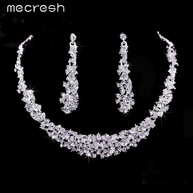 Crystal Bridal Wedding Jewellery Set Silver Plated Necklace & Earrings