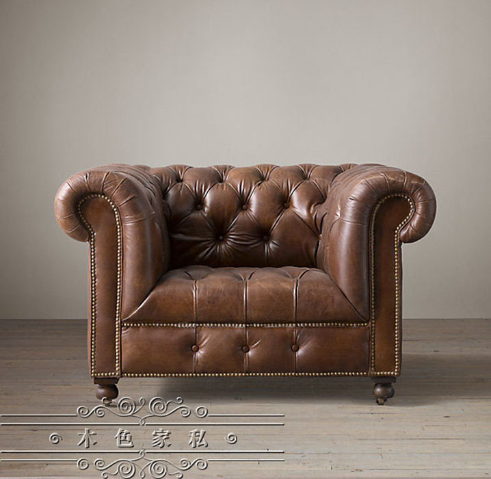 French Country Vintage Hasp American Oil Wax Leather Sofa Ikea Single Nordic Trio In Garden Sofas From Furniture On Aliexpress Alibaba