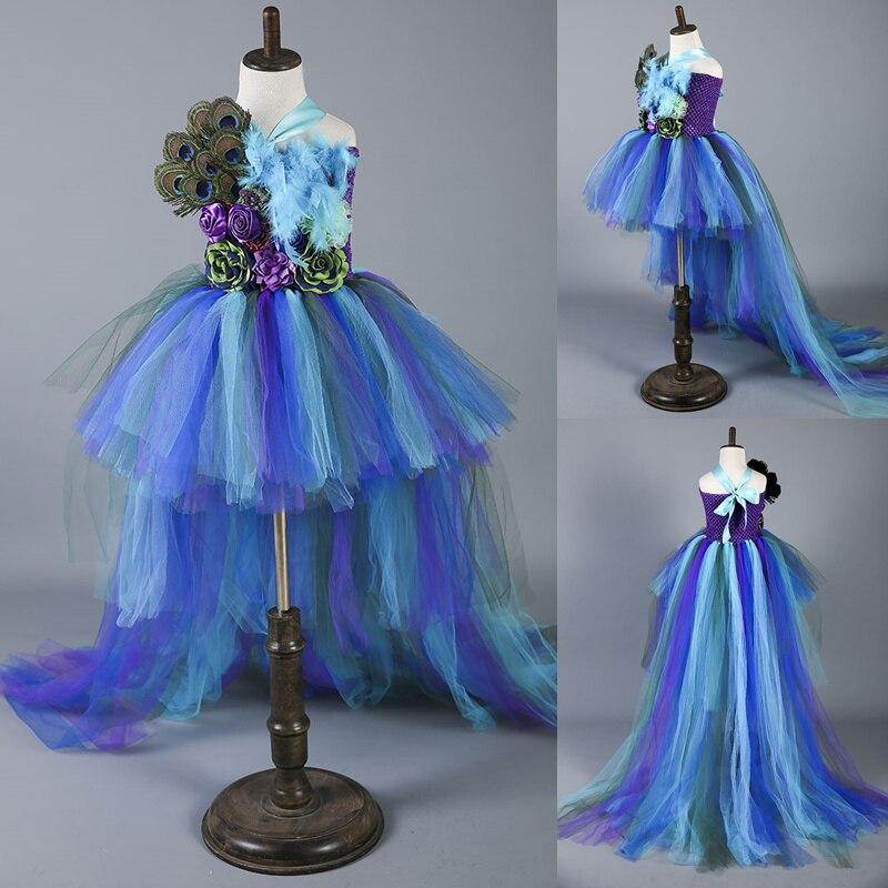 Boutique plume fleur fille robe de soirée robes de mode Train paon filles robes d'anniversaire enfants vêtements de noël W049 - 2