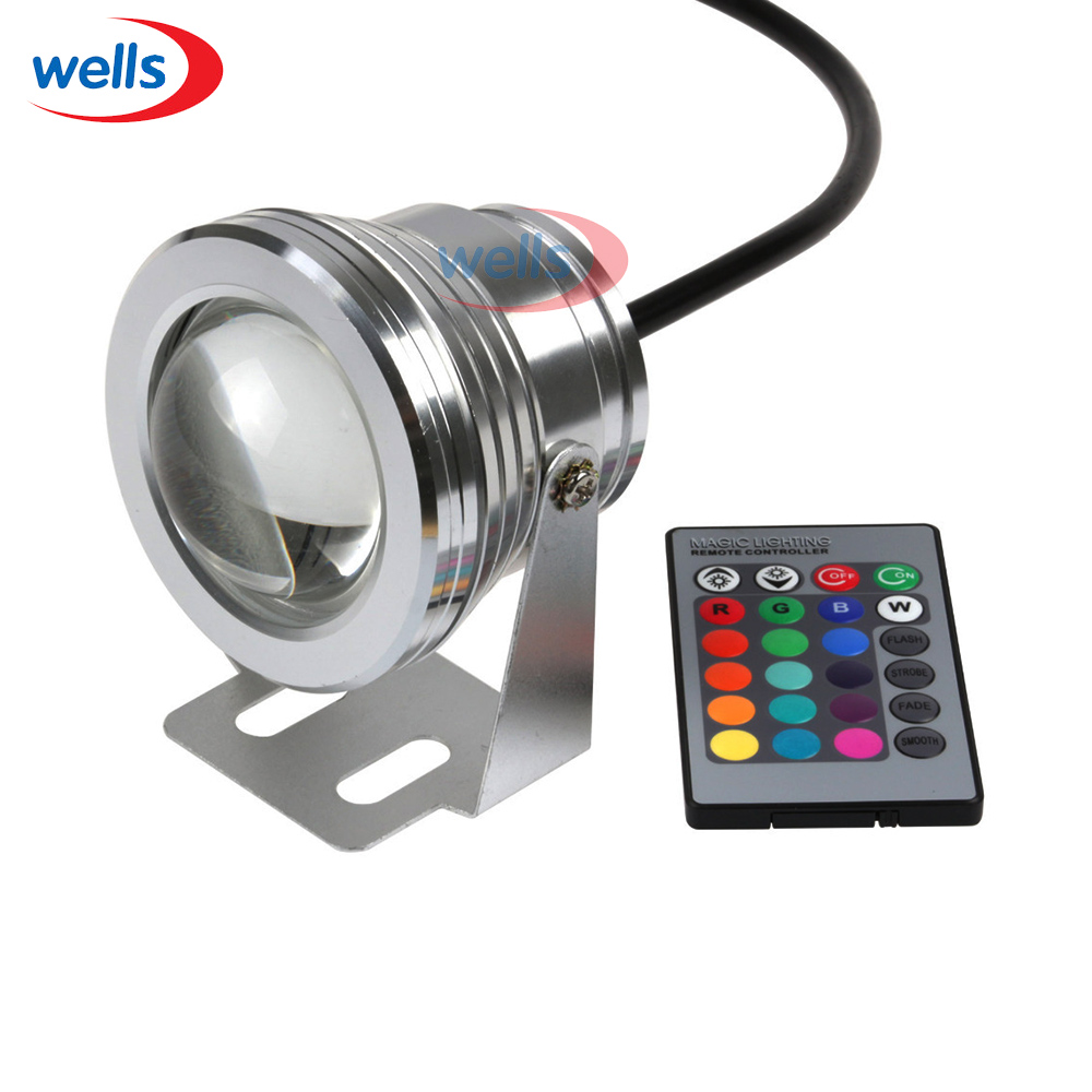 Fast Shipping 10W Underwater IP68 RGB LED Flood Down Light For Pool Garden +24 Key Controller DC 12V