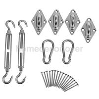 8 Pieces / Set High Quality 304 Stainless Steel Hardware Kit For Square / Rectangle Sun Shade Sail