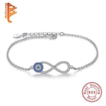 ac38ca417385 BELAWANG plata esterlina 925 cadena brazalete de la pulsera Rhinestone azul  Lucky eye   infinito encanto pulseras para las mujeres joyería