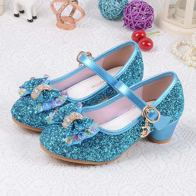 1305e216f2b Children's Sequins Shoes Enfants 2019 Baby Girls Wedding Princess Kids High  Heels Dress Party Shoes For Girl Pink Blue Gold