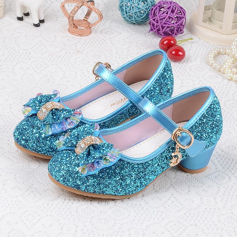 Sapatos de Lantejoulas das crianças Enfants 2018 Do Bebê Meninas Princesa Crianças sapatos De Salto Alto Vestido de Casamento Sapatos de Festa Para A Menina Rosa Azul ouro