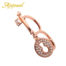 Ajojewel Fashion Crystal Key Ring Luxury Rose Gold Color Two Finger Rings For Women Party Jewelry Annel Bagues