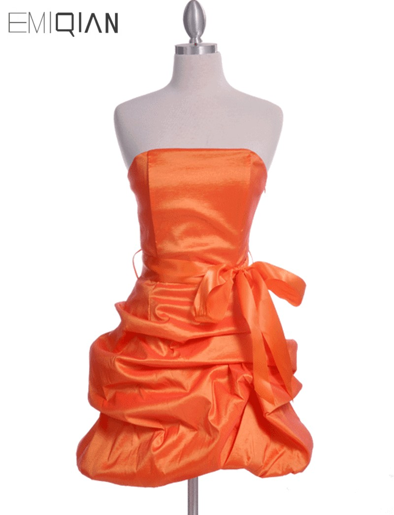 Freeshipping Real Photos Strapless Ruched Orange Taffeta   Cocktail     Dress