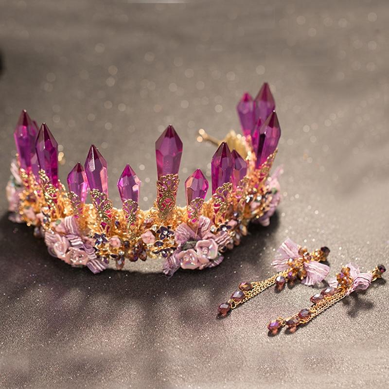 New Design Large Luxury Baroque Purple Crystal Bridal Pageant Tiara Wedding Hair Accessory Rhinestone Princess Queen Prom Crown