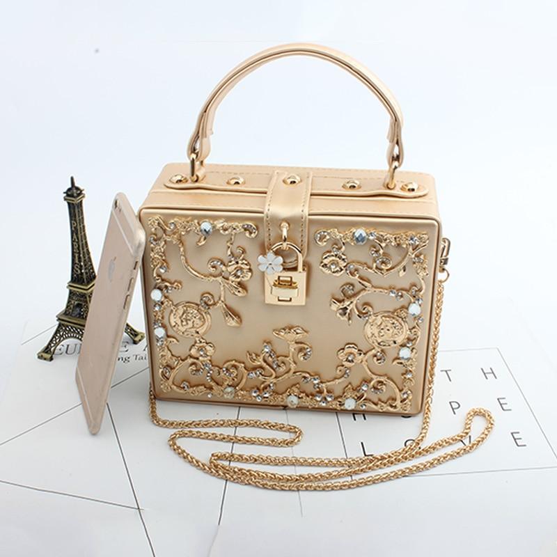 Fashion Women Evening Bag 2019 Ladies Pu Leather Clutches Box Elegant  Shoulder Bag Crossbody Wallet Flower Metal Hasp Handbag