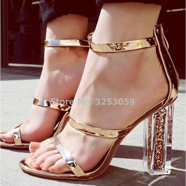 b7bd8a911eb8db ALMUDENA Women Golden Cystal High Heels Bling Bling Gold Sequined Clear  Chucky Heels Dress Shoes Wedding Pumps Strappy Shoes