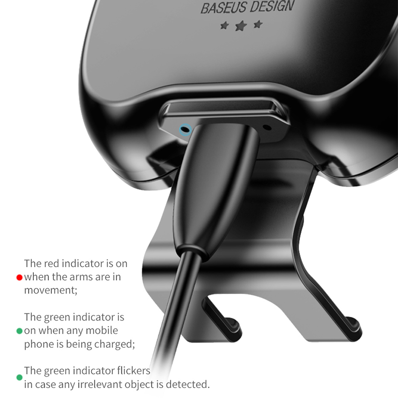 Baseus Qi Car Wireless Charger for iPhone Mobile Phone Charger Infrared Induction Fast Wireless Charging Car Phone Holder Stand 4