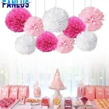 9pcs/set White Paper Artificial Flower Pom Poms Wedding Party Decoration Baby Shower Decorations Boy Girl Bachelorette