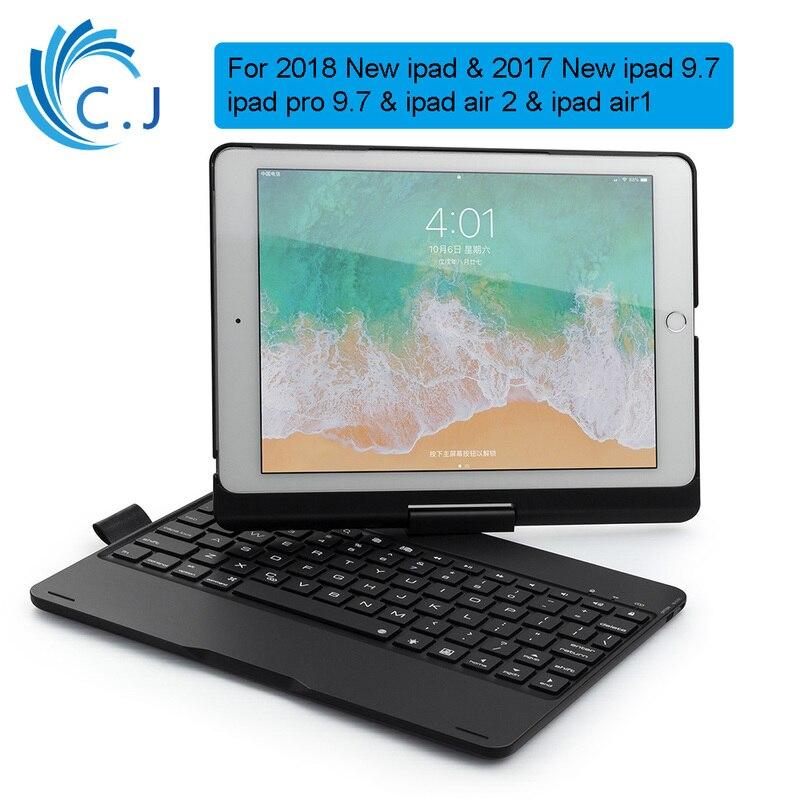 Smart sans fil Bluetooth apple housse de clavier avec couverture de stylo 360 Rotation pour 2018/2017 iPad9.7, iPad air2/1, iPad Pro 9.7