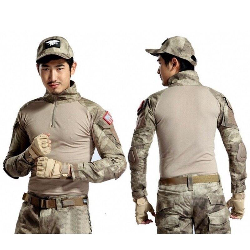 Военная армейская тактическая футболка камуфляжной расцветки с длинным рукавом BDU армейские футболки Для мужчин камуфляж страйкбол Снайпе