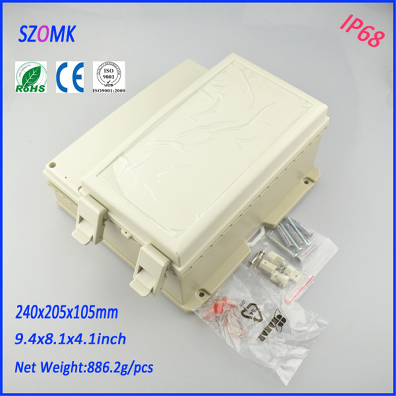 IP68 waterproof electronics plastic hinge box junction housing (1pcs) 240*205*105mm electrical pcb enclosure waterproof case 1 piece free shipping powder coating aluminium junction housing box for waterproof router case 81 h x126 w x196 l mm