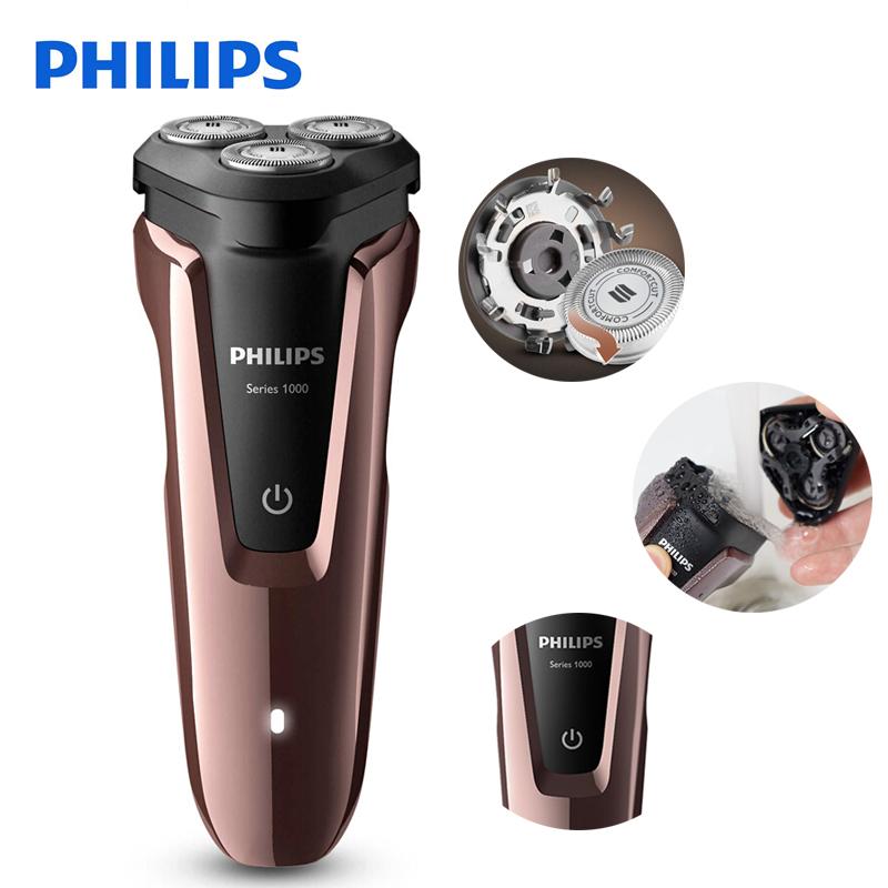 100% Genuine Philips Electric Shaver S1060 Rotary Rechargeable Washable For Men's Electric Razor With Three Floating Heads philips s551 electric double heads 3d shaver