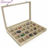 Guanya Tray Jewelry Linen Ring Box Display Earring Show Storage Organizer Fashion Multi Grid Case Bracelet