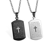 RE Cross necklaces pendants christian jewelry bible lords prayer dog tags stainless steel necklace for men christmas gift TB31