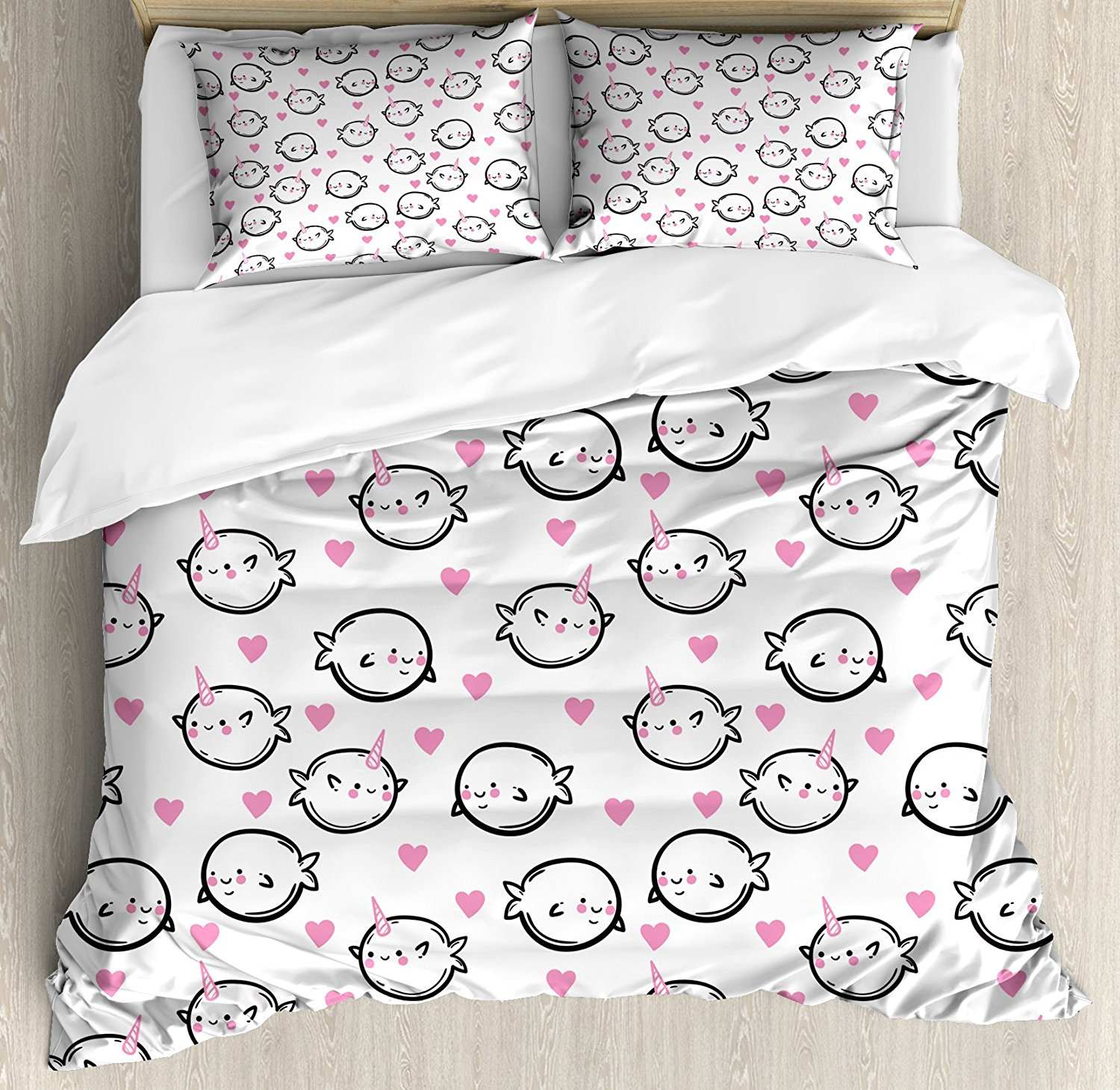 Narwhal Duvet Cover Set Heart Background Doodle Style Whales Sweet Ocean Mammals Childrens Cartoon Decor Bedding Set White
