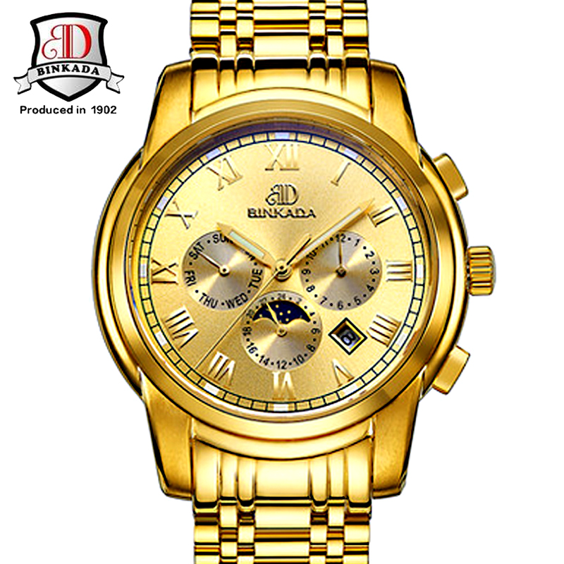 Men font b Watch b font Gold Stainless Steel Waterproof Luxury Erkek Kol Saati Automatic Self