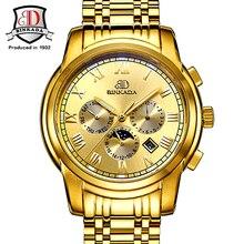 Men Watch Gold Stainless Steel Waterproof Luxury Erkek Kol Saati Automatic Self-Wind Mechanical Military Complete Calendar