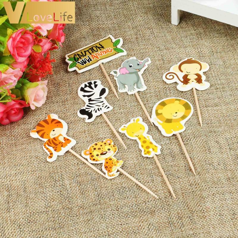24pcs Wild Jungle Animal Theme Cupcake Topper Picks Baby Shower Boy Kids Favor Birthday Party