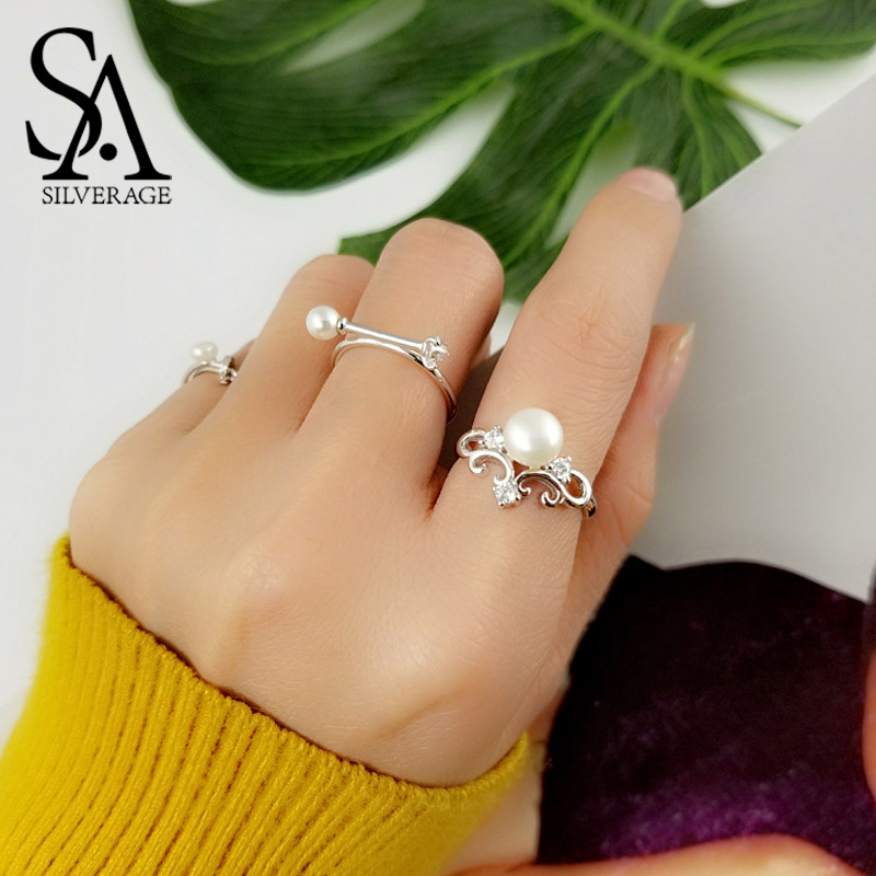 925 Sterling Adjustable Silver White Queen Rings Wedding Rings for Women Fine Jewelry Natural Pearl Silver Ring 2019 Women Gift 925 Sterling Adjustable Silver White Queen Rings Wedding Rings for Women Fine Jewelry Natural Pearl Silver Ring 2019 Women Gift