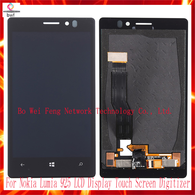 ФОТО 50pcs High Quality For Nokia Lumia 925 LCD Display Touch Screen Digitizer Assembly , Black Free shipping !!!