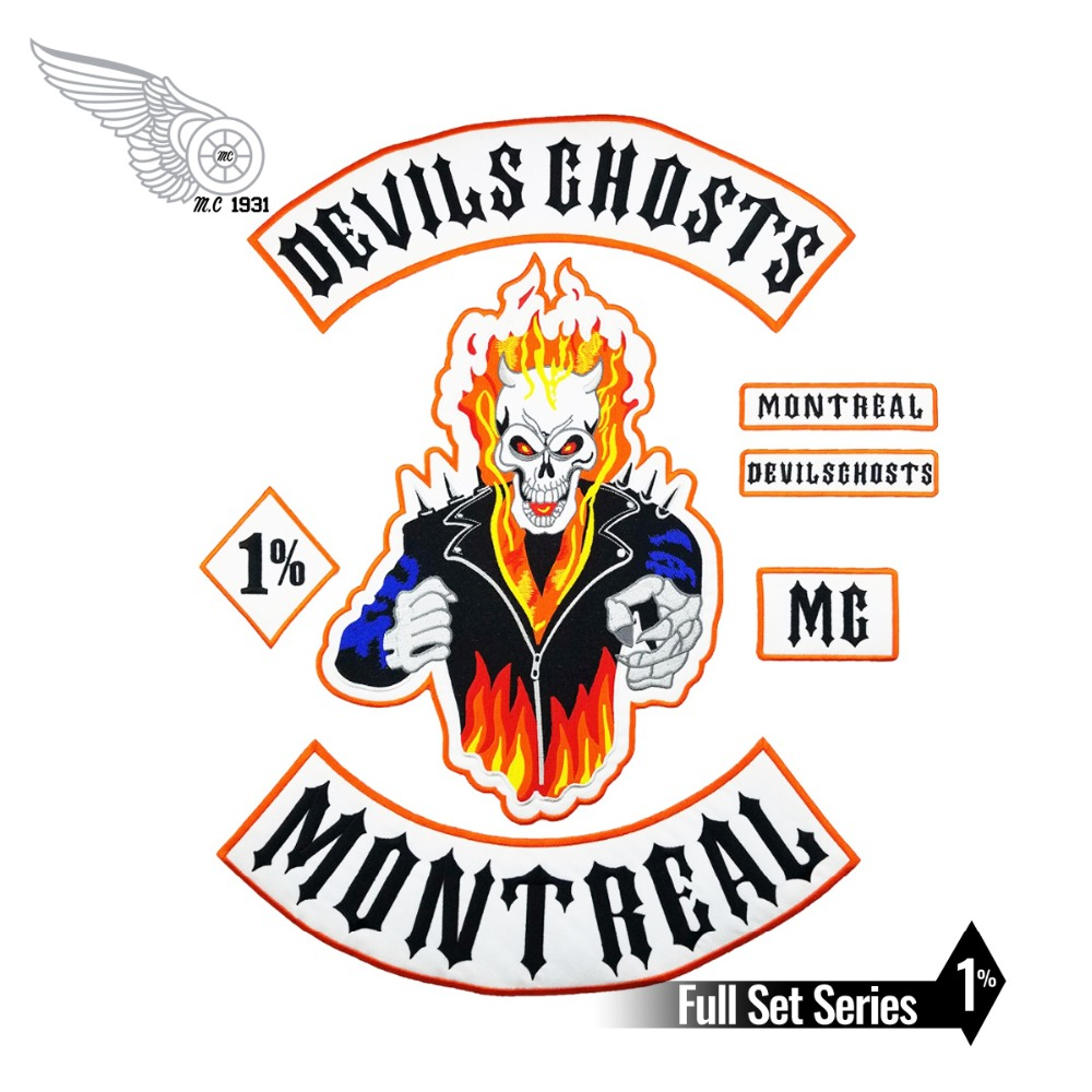 <font><b>MC</b></font> <font><b>Patches</b></font> Set Motorcycle Club Devil Embroidery Fire <font><b>Patches</b></font> Custom Embroidery <font><b>1</b></font>% Badge Motorclub Badge Biker Vest Iron On Large image