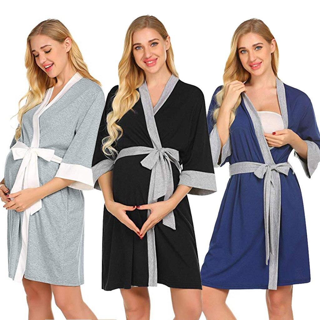 Maternity Dresses Nursing Robe Bath Nightgowns Hospital Breastfeeding Dressing Female Gown Peignoir Badjas Plus Size Pregnancy