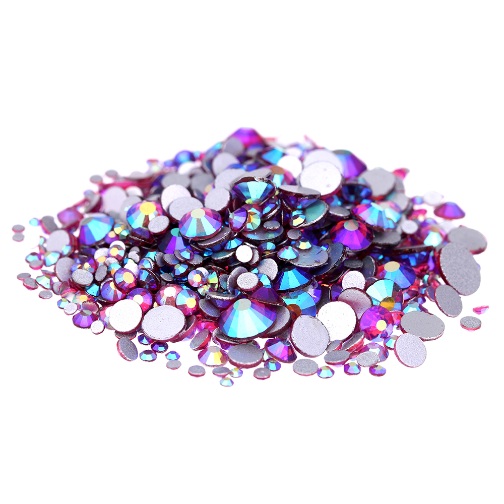 Fushia AB Non Hotfix Crystal Rhinestones SS3-SS30 And Mixed Sizes Shiny Glue On Strass Diamonds DIY Jewelry Nails Art Decoration стразы для одежды dmc from blinginbox com 1550pcs abfix ss6 8 ss10 ss12 ss16 ss20 ss30 fix strass diy hotfix sizes mixed