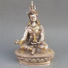 Vintage Tibet Silver Copper Gilt Tibetan Buddhism Statue -- Green Tara Buddha