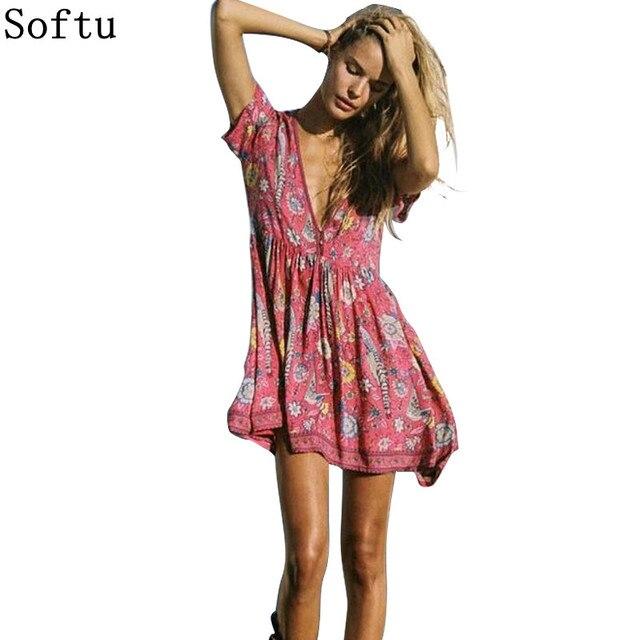 Softu Цветочный принт мини платье v-образным вырезом короткий рукав бохо платье новые летние богемные Повседневное охлаждения Для женщин Пляжные наряды