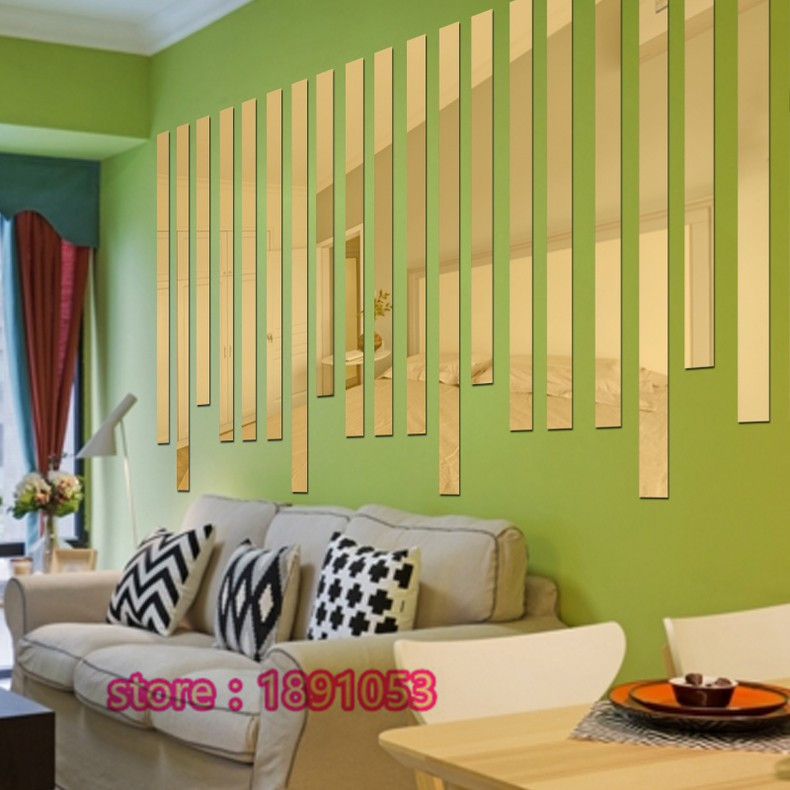5 pcs 3D acrylic mirror wall stickers living room TV backdrop ...