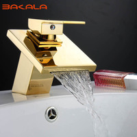 BAKALA Golden Brass Square Waterfall Spout Bathroom Basin Faucet Vanity Sink Mixer Tap Mixer Tap LT