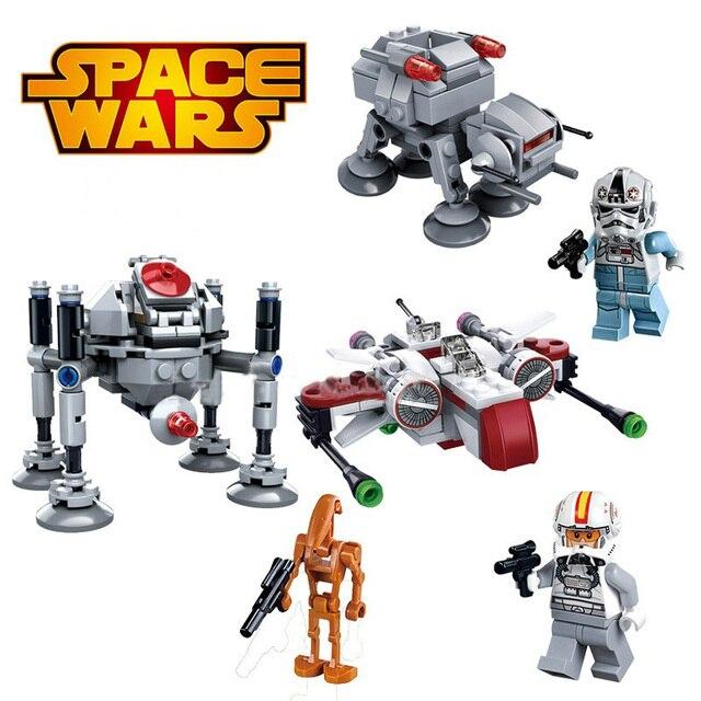 3 pcs Star Wars Clone Troopers Navios de Guerra Spaceship StarWars Blocos de Construção de Mini Figuras Tijolos Crianças Brinquedos Compatíveis com legoeING