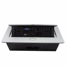 Tabletop soquete de energia Universal/hidden/VGA, 3.5 MM de áudio, HDMI HD, USB, rede, Informações RJ45 caixa de tomada/tomada de desktop